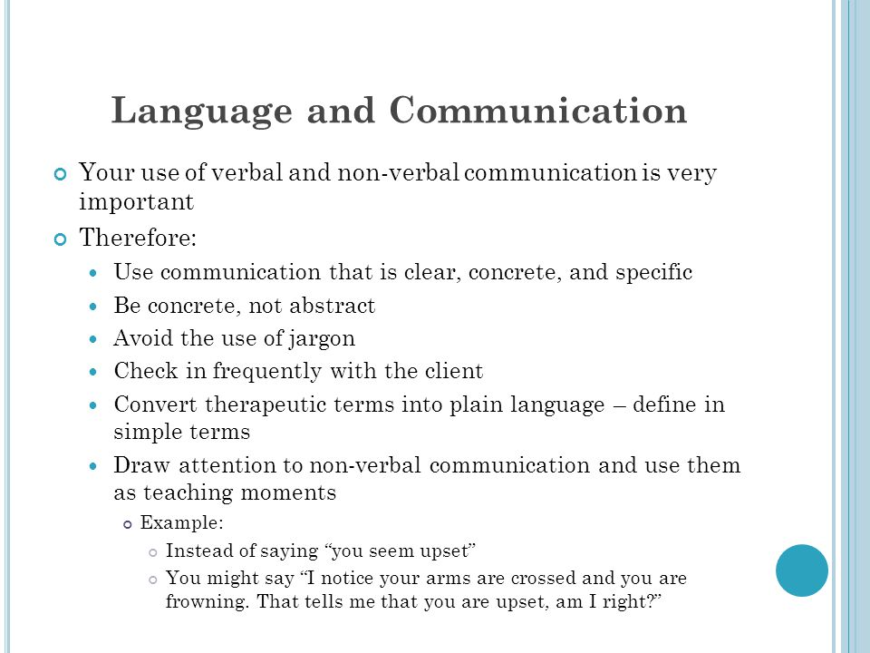 Language and Communication Your use of verbal and non-verbal communication is very important Therefore: Use communication that is clear, concrete, and specific Be concrete, not abstract Avoid the use of jargon Check in frequently with the client Convert therapeutic terms into plain language – define in simple terms Draw attention to non-verbal communication and use them as teaching moments Example: Instead of saying you seem upset You might say I notice your arms are crossed and you are frowning.
