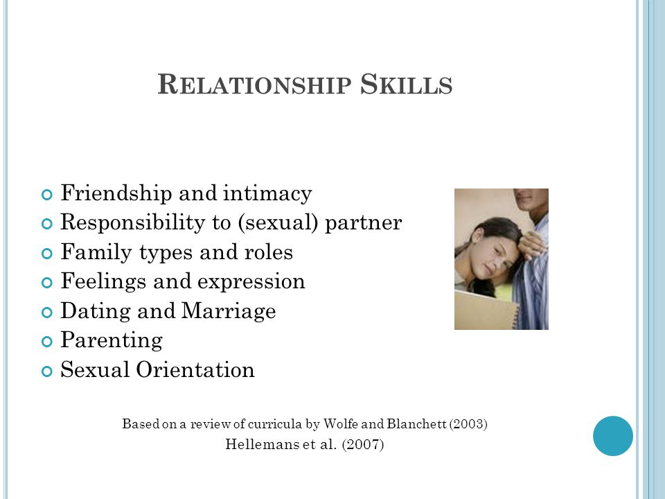 R ELATIONSHIP S KILLS Friendship and intimacy Responsibility to (sexual) partner Family types and roles Feelings and expression Dating and Marriage Pa