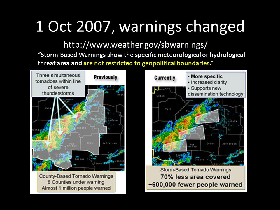 "1 Oct 2007, warnings changed http://www.weather.gov/sbwarnings/ ""Storm-Based Warnings show the specific meteorological or hydrological threat area and"