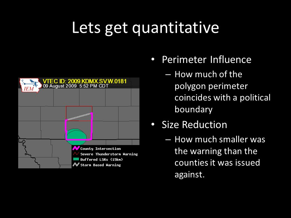 Lets get quantitative Perimeter Influence – How much of the polygon perimeter coincides with a political boundary Size Reduction – How much smaller was the warning than the counties it was issued against.