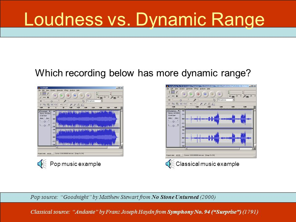 "Which recording below has more dynamic range? Pop music exampleClassical music example Classical source: ""Andante"" by Franz Joseph Haydn from Symphony"