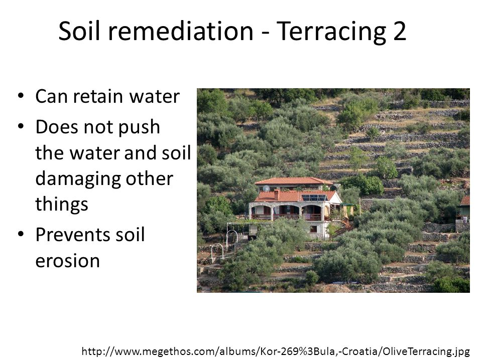 Soil remediation - Terracing 2 Can retain water Does not push the water and soil damaging other things Prevents soil erosion http://www.megethos.com/a
