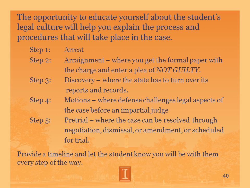 The opportunity to educate yourself about the student's legal culture will help you explain the process and procedures that will take place in the case.