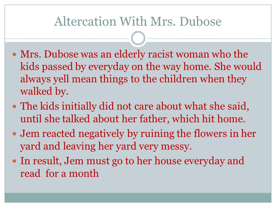 Altercation With Mrs.Dubose Mrs.