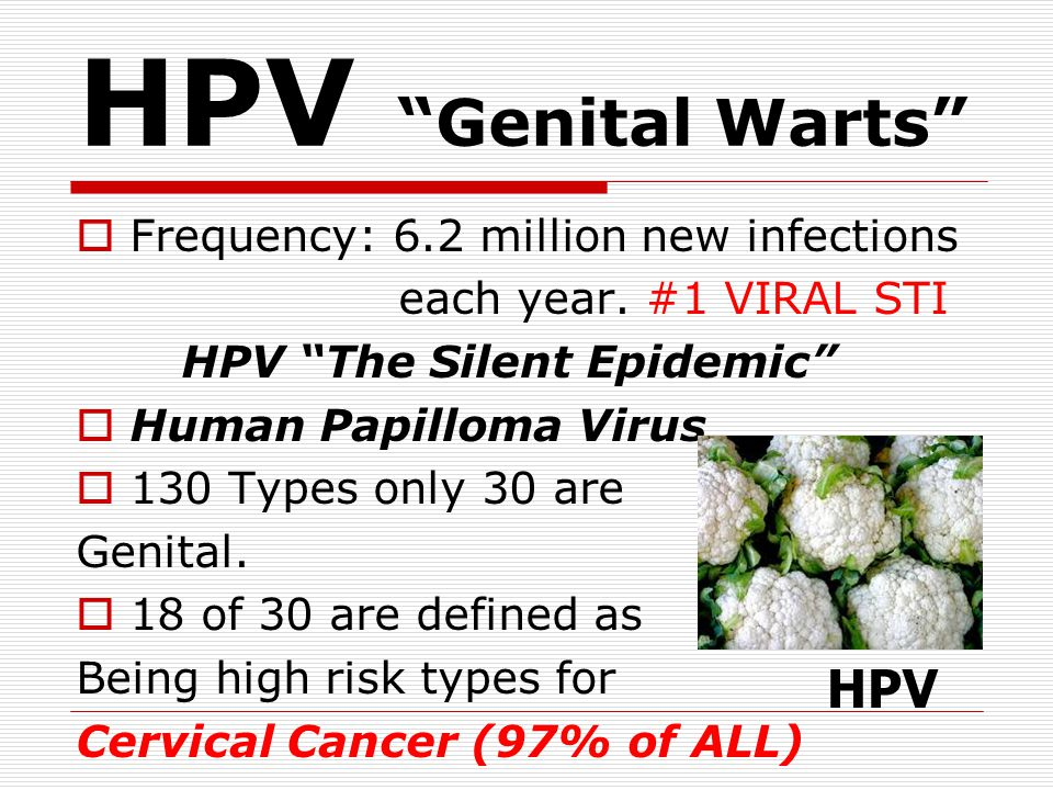 HPV Genital Warts  Frequency: 6.2 million new infections each year.