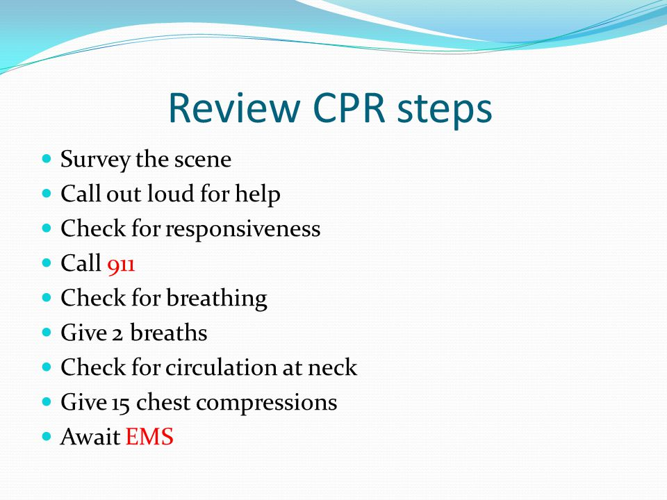 Review CPR steps Survey the scene Call out loud for help Check for responsiveness Call 911 Check for breathing Give 2 breaths Check for circulation at neck Give 15 chest compressions Await EMS