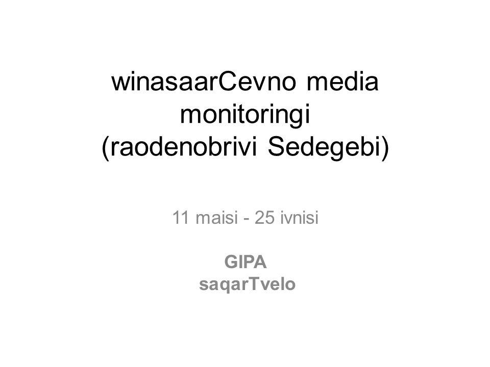 winasaarCevno media monitoringi (raodenobrivi Sedegebi) 11 maisi - 25 ivnisi GIPA saqarTvelo