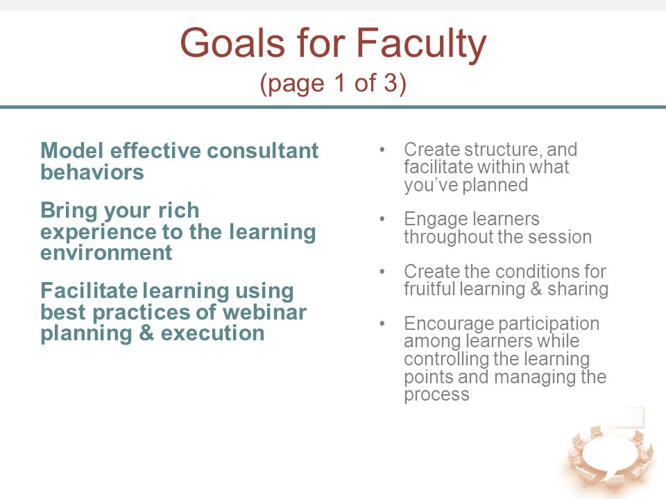 Goals for Faculty (page 1 of 3) Model effective consultant behaviors Bring your rich experience to the learning environment Facilitate learning using best practices of webinar planning & execution Create structure, and facilitate within what you've planned Engage learners throughout the session Create the conditions for fruitful learning & sharing Encourage participation among learners while controlling the learning points and managing the process