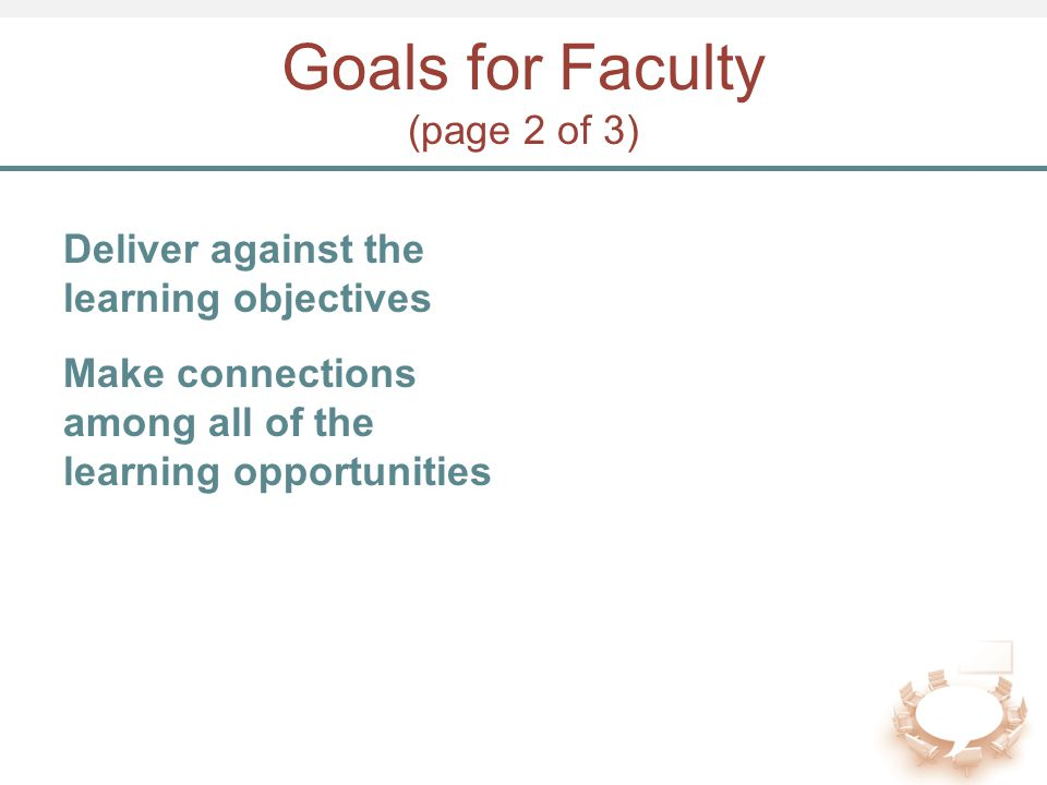 Goals for Faculty (page 2 of 3) Deliver against the learning objectives Make connections among all of the learning opportunities