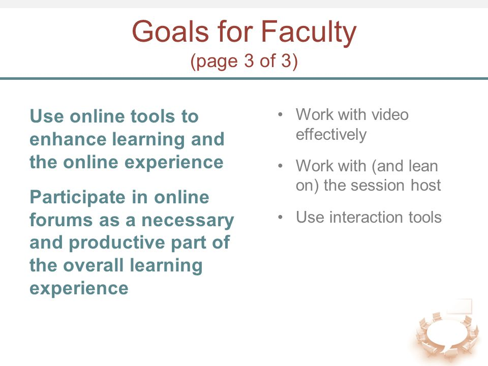 Goals for Faculty (page 3 of 3) Use online tools to enhance learning and the online experience Participate in online forums as a necessary and product