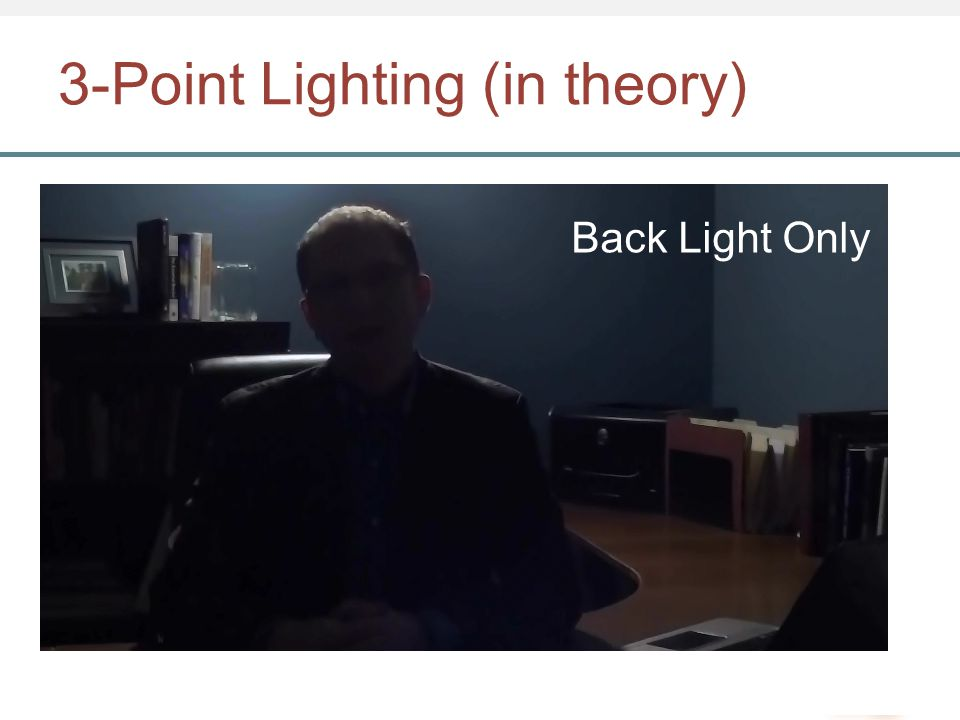 3-Point Lighting (in theory) Back Light Only