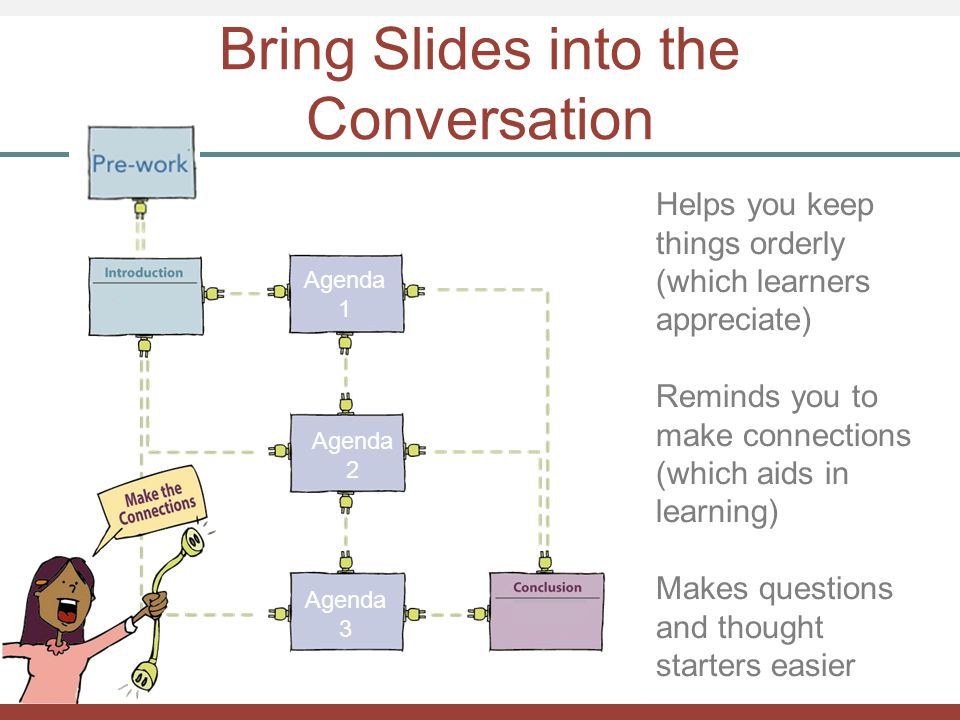 Bring Slides into the Conversation Helps you keep things orderly (which learners appreciate) Reminds you to make connections (which aids in learning)