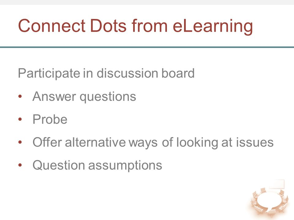 Connect Dots from eLearning Participate in discussion board Answer questions Probe Offer alternative ways of looking at issues Question assumptions
