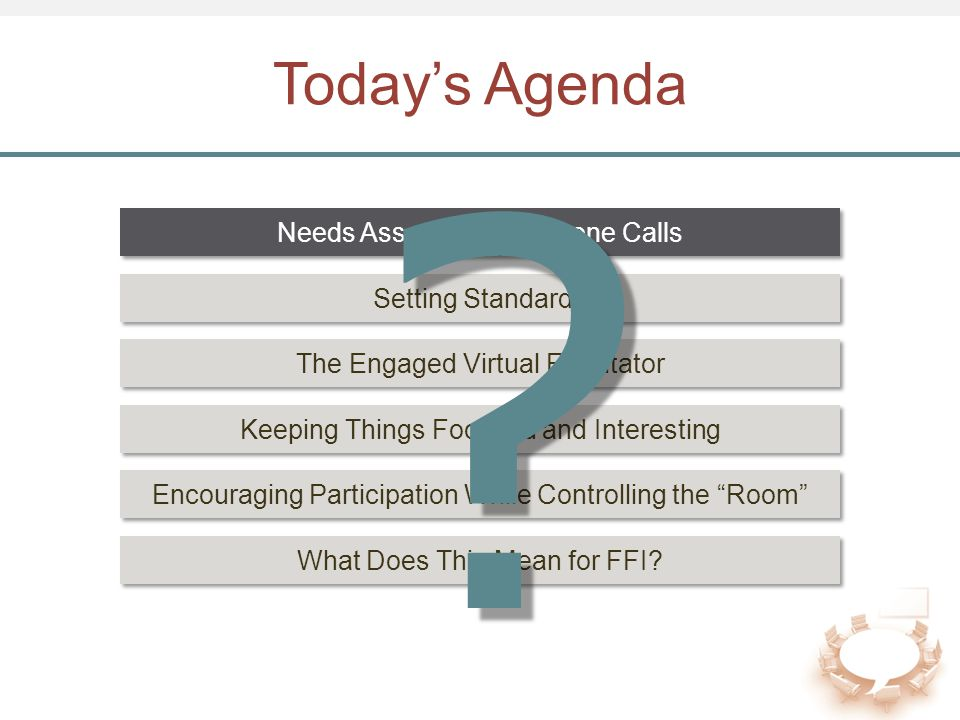 """Today's Agenda Setting Standards The Engaged Virtual Facilitator Encouraging Participation While Controlling the """"Room"""" What Does This Mean for FFI? K"""