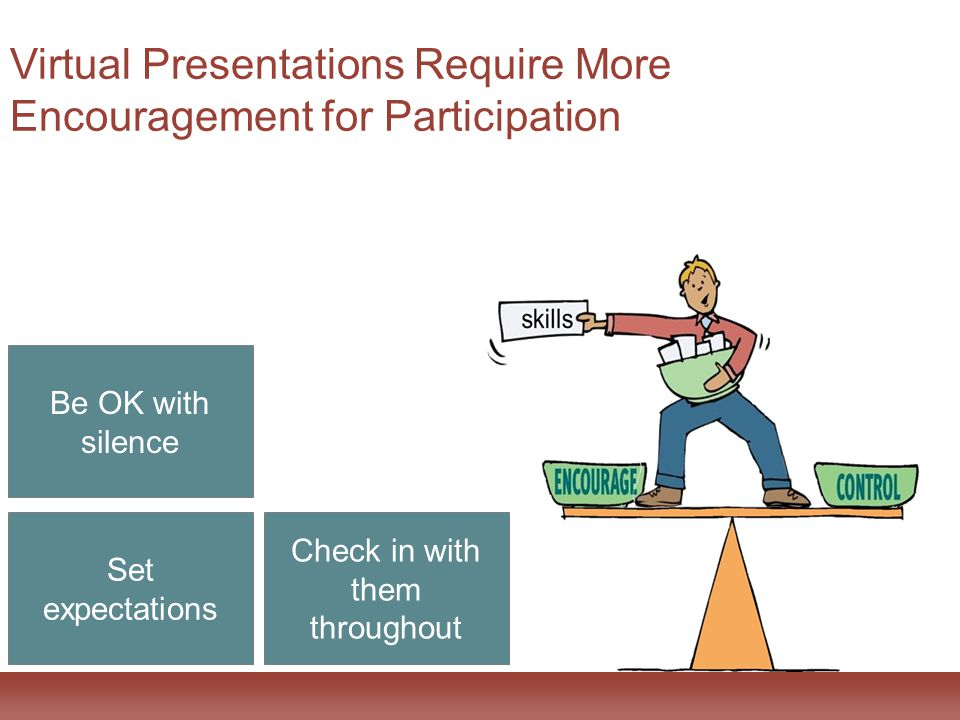 Be OK with silence Set expectations Check in with them throughout Virtual Presentations Require More Encouragement for Participation