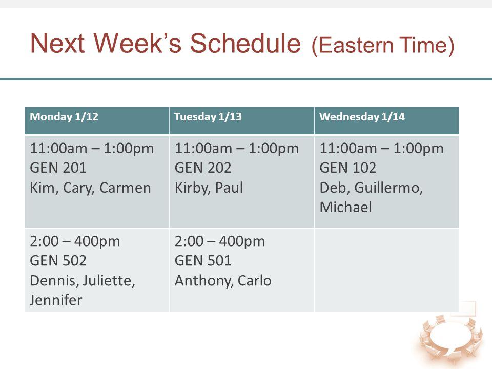 Next Week's Schedule (Eastern Time) Monday 1/12Tuesday 1/13Wednesday 1/14 11:00am – 1:00pm GEN 201 Kim, Cary, Carmen 11:00am – 1:00pm GEN 202 Kirby, Paul 11:00am – 1:00pm GEN 102 Deb, Guillermo, Michael 2:00 – 400pm GEN 502 Dennis, Juliette, Jennifer 2:00 – 400pm GEN 501 Anthony, Carlo