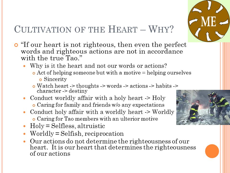 """C ULTIVATION OF THE H EART – W HY ? """"If our heart is not righteous, then even the perfect words and righteous actions are not in accordance with the t"""