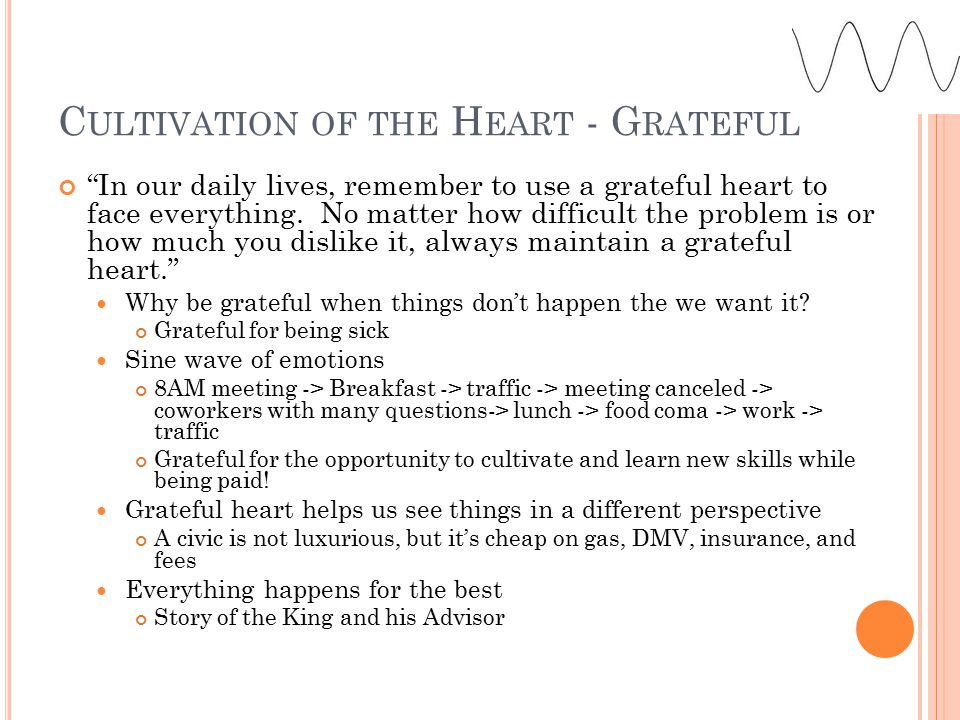 C ULTIVATION OF THE H EART - G RATEFUL In our daily lives, remember to use a grateful heart to face everything.