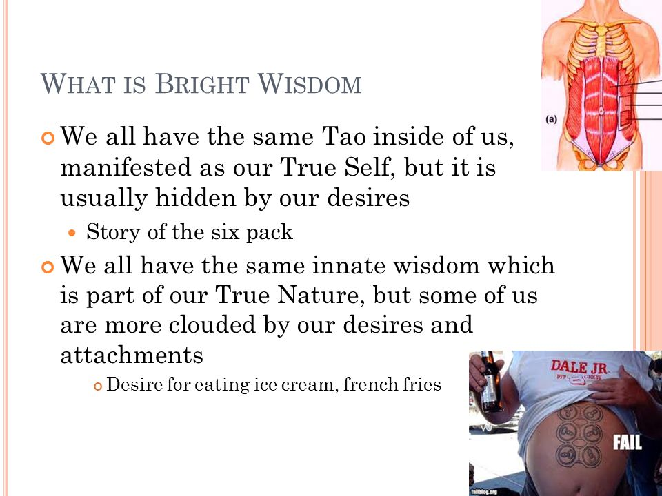 W HAT IS B RIGHT W ISDOM We all have the same Tao inside of us, manifested as our True Self, but it is usually hidden by our desires Story of the six