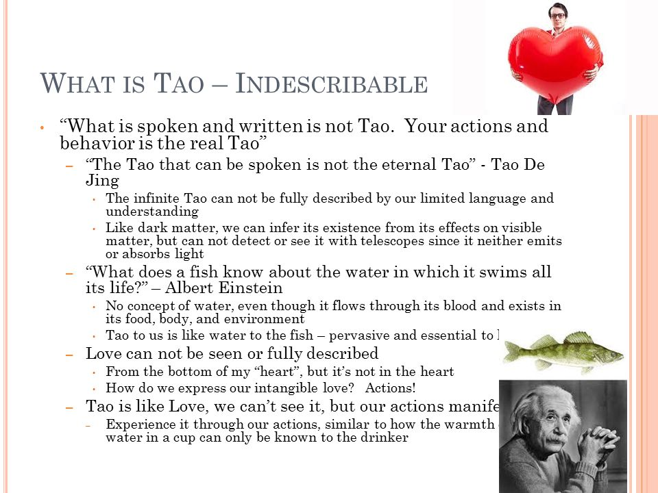 """W HAT IS T AO – I NDESCRIBABLE """"What is spoken and written is not Tao. Your actions and behavior is the real Tao"""" – """"The Tao that can be spoken is not"""