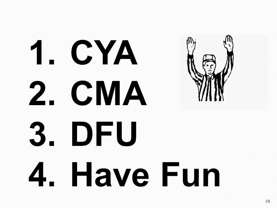 26 1.CYA 2.CMA 3.DFU 4.Have Fun