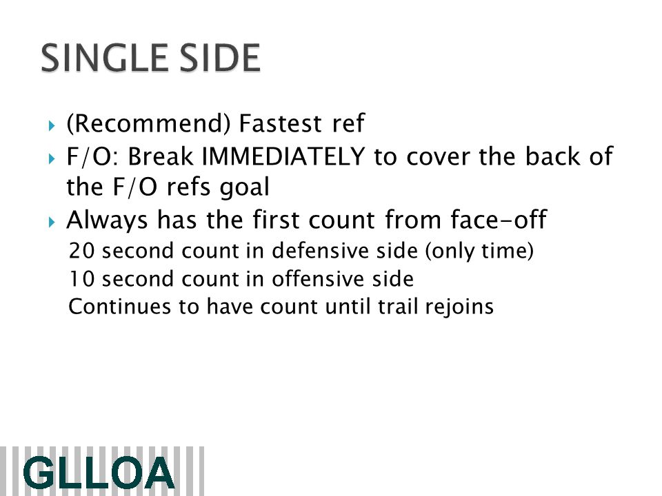  (Recommend) Fastest ref  F/O: Break IMMEDIATELY to cover the back of the F/O refs goal  Always has the first count from face-off 20 second count in defensive side (only time) 10 second count in offensive side Continues to have count until trail rejoins