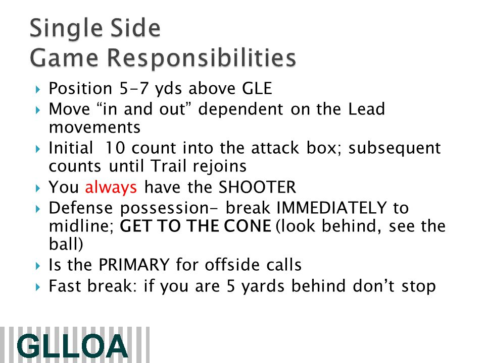 Communicate (Report fouls) with your partners  TRAIL will report to the table (C-NOTE)  SS and LEAD: Set the field ◦ Locate the ball ◦ Count the defense and offense ◦ Inform goalie of ball location: Official closest to the goalie –no need to yell to goalie ◦ Restart in the alley on SS (if possible) ◦ Restart Lead/Trail side, (whistle) whoever is closest to ball (Single side should inform goalie) ◦ Someone should look at the clock