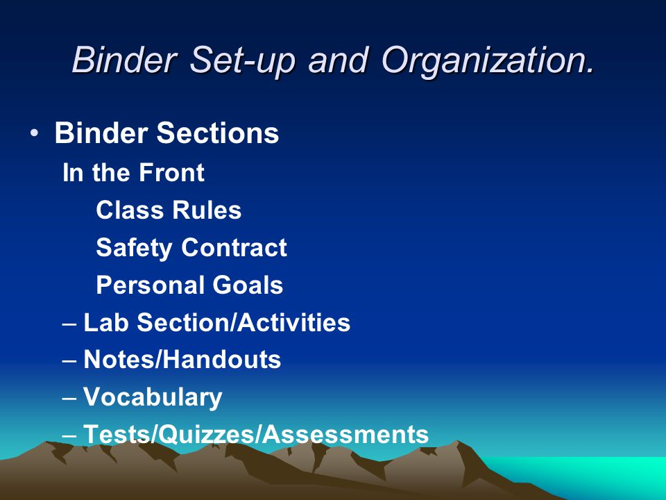 Binder Set-up and Organization. Binder Sections In the Front Class Rules Safety Contract Personal Goals –Lab Section/Activities –Notes/Handouts –Vocab
