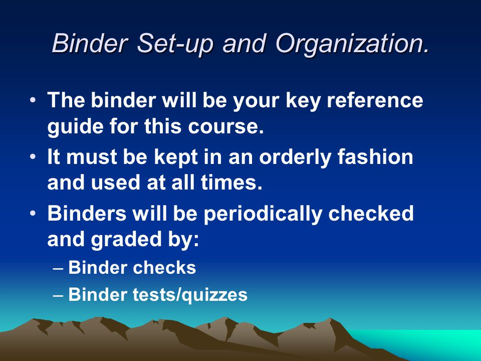 Binder Set-up and Organization.The binder will be your key reference guide for this course.