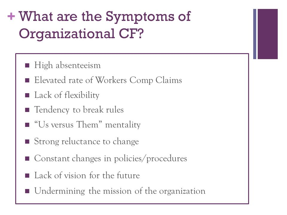 + What are the Symptoms of Organizational CF.