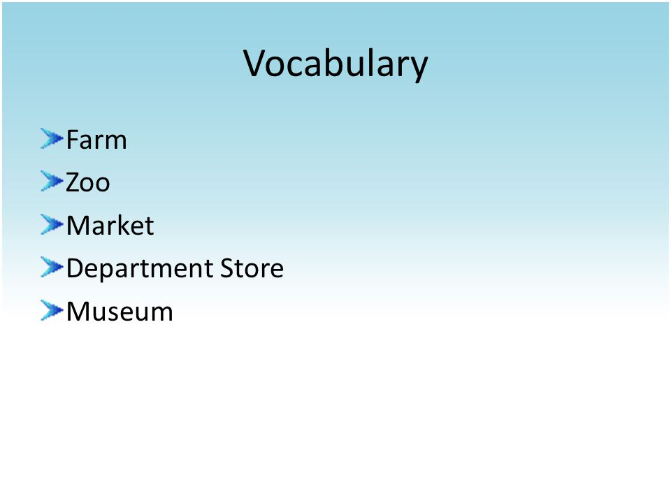 Vocabulary Farm Zoo Market Department Store Museum