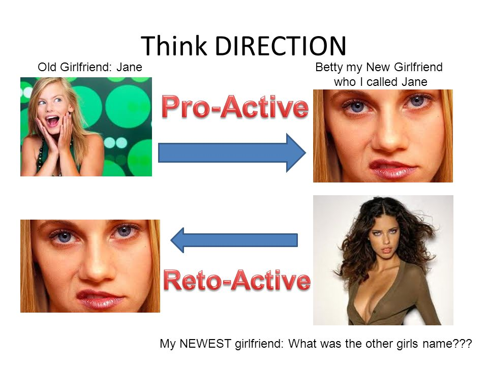 Think DIRECTION Old Girlfriend: JaneBetty my New Girlfriend who I called Jane My NEWEST girlfriend: What was the other girls name???