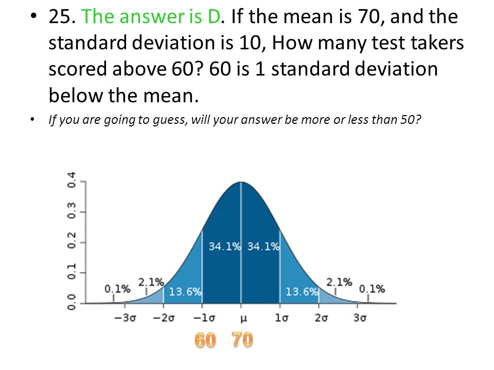 25. The answer is D. If the mean is 70, and the standard deviation is 10, How many test takers scored above 60? 60 is 1 standard deviation below the m