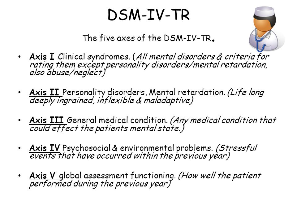 DSM-IV-TR The five axes of the DSM-IV-TR. Axis I Clinical syndromes. (All mental disorders & criteria for rating them except personality disorders/men