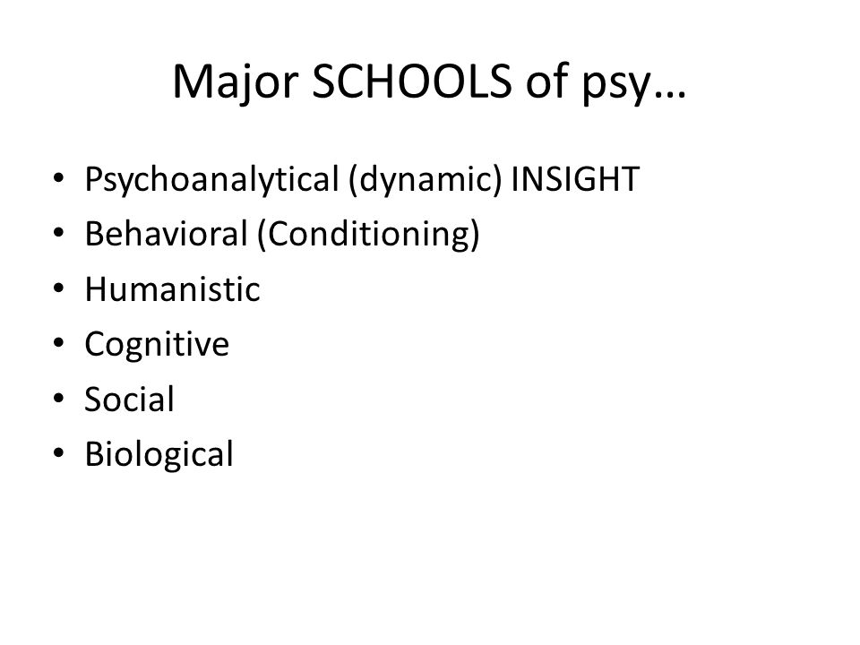 Major SCHOOLS of psy… Psychoanalytical (dynamic) INSIGHT Behavioral (Conditioning) Humanistic Cognitive Social Biological