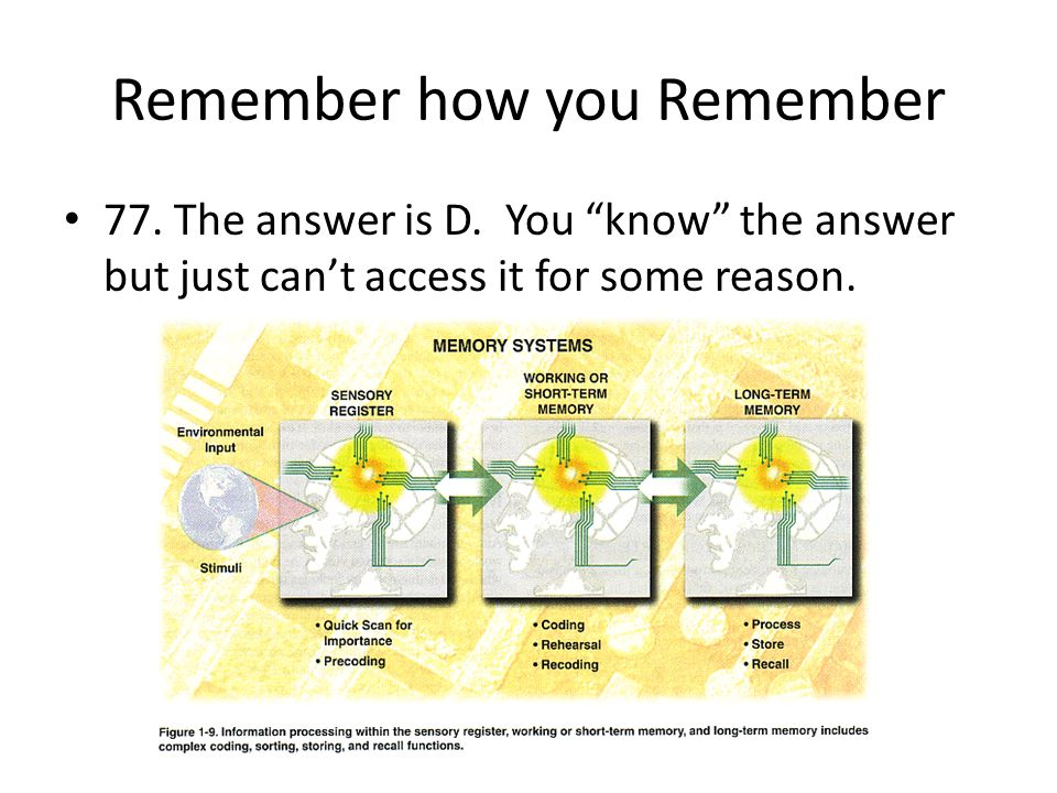 """Remember how you Remember 77. The answer is D. You """"know"""" the answer but just can't access it for some reason."""