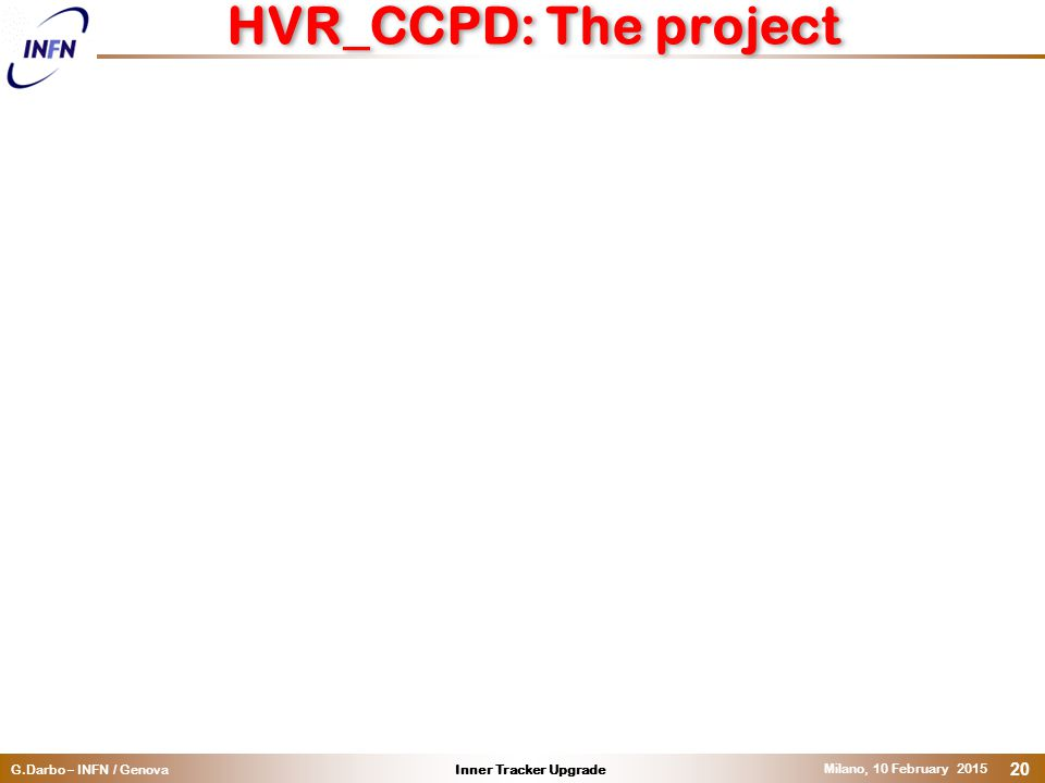 Inner Tracker UpgradeG.Darbo – INFN / Genova Milano, 10 February 2015 20 HVR_CCPD: The project