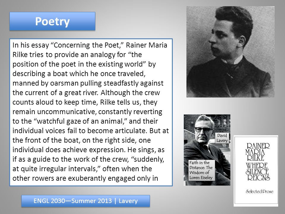 Poetry ENGL 2030—Summer 2013 | Lavery their task and unmindful of all else.