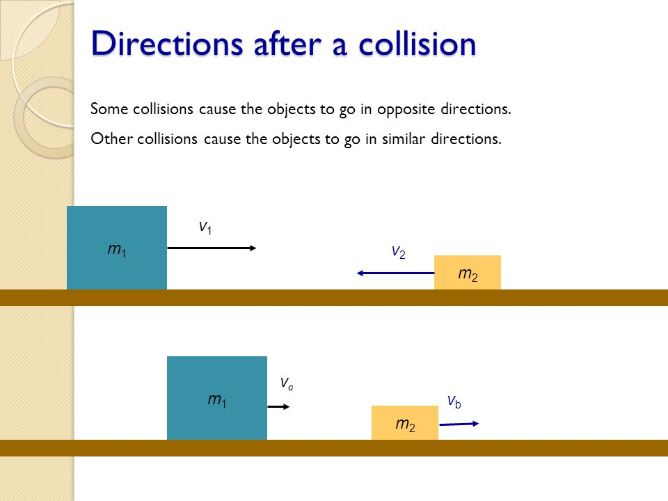 Directions after a collision Some collisions cause the objects to go in opposite directions. Other collisions cause the objects to go in similar direc