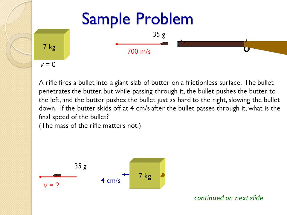 Sample Problem 7 kg v = 0 700 m/s A rifle fires a bullet into a giant slab of butter on a frictionless surface. The bullet penetrates the butter, but