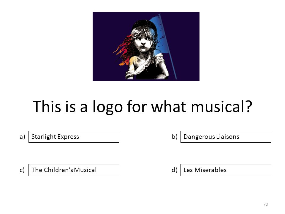 This is a logo for what musical? a) c) b) d) Dangerous Liaisons The Children's MusicalLes Miserables Starlight Express 70
