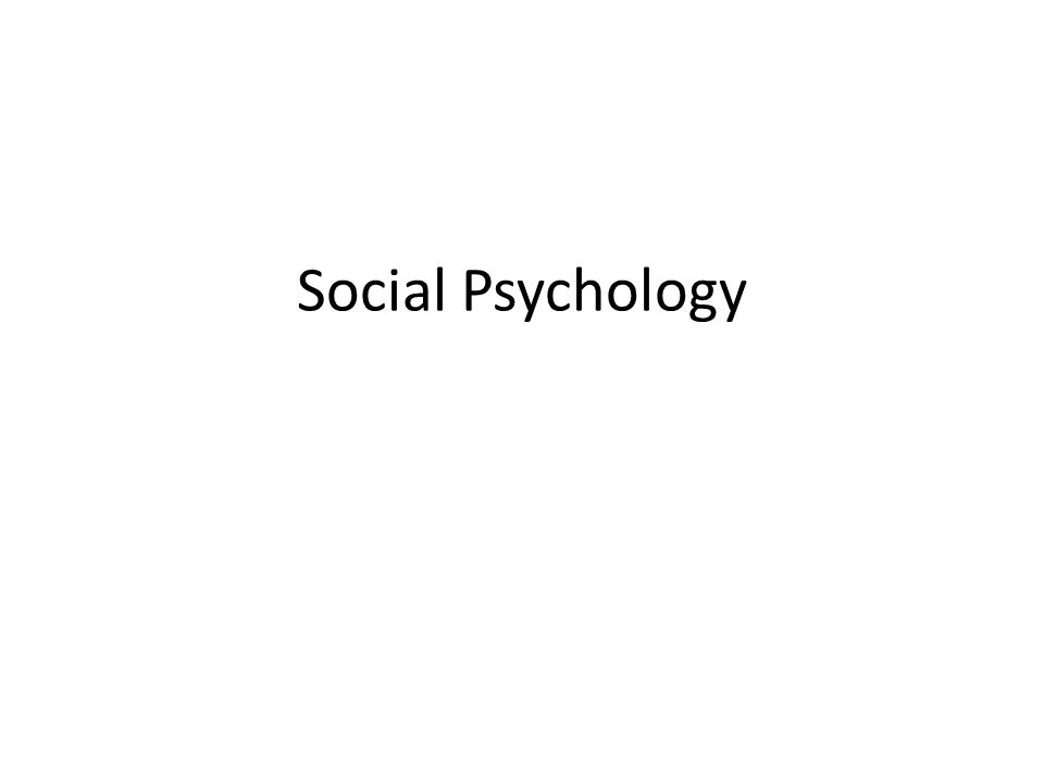 Objective I will be able to apply the concepts of Social Psychology on individual and group assignments and tests