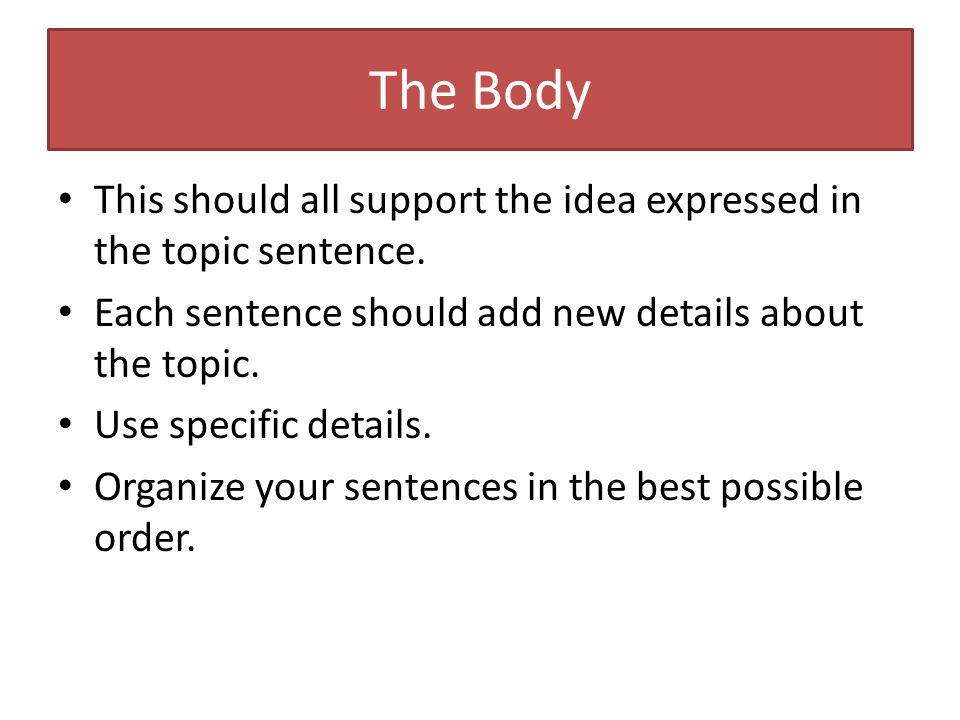 The Body This should all support the idea expressed in the topic sentence.