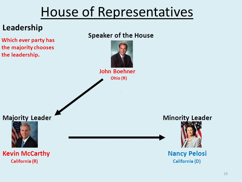 18 House of Representatives Leadership Speaker of the House John Boehner Ohio (R) Majority Leader Minority Leader Kevin McCarthy Nancy Pelosi California (R) California (D) Which ever party has the majority chooses the leadership.