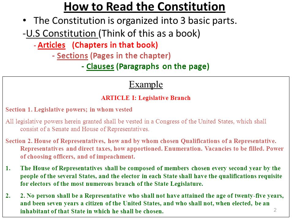 How to Read the Constitution The Constitution is organized into 3 basic parts.
