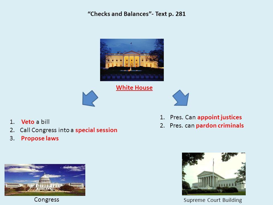 """Checks and Balances""- Text p. 281 Congress White House 1. Veto a bill 2.Call Congress into a special session 3. Propose laws Supreme Court Building 1"