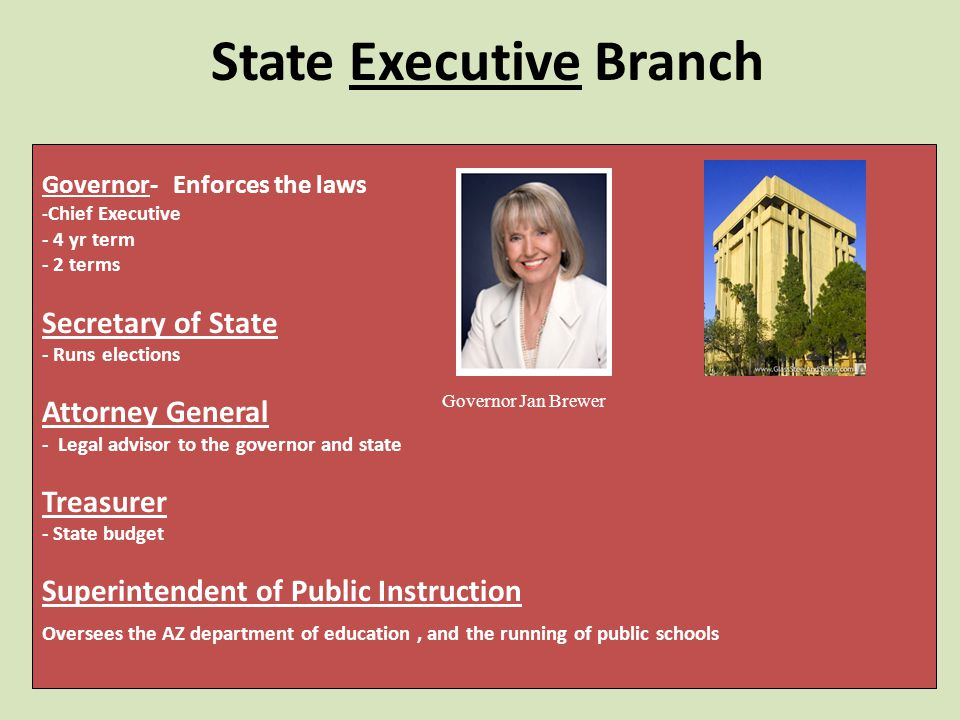 State Executive Branch Governor- Enforces the laws - Chief Executive - 4 yr term - 2 terms Secretary of State - Runs elections Attorney General - Legal advisor to the governor and state Treasurer - State budget Superintendent of Public Instruction Oversees the AZ department of education, and the running of public schools Governor Jan Brewer
