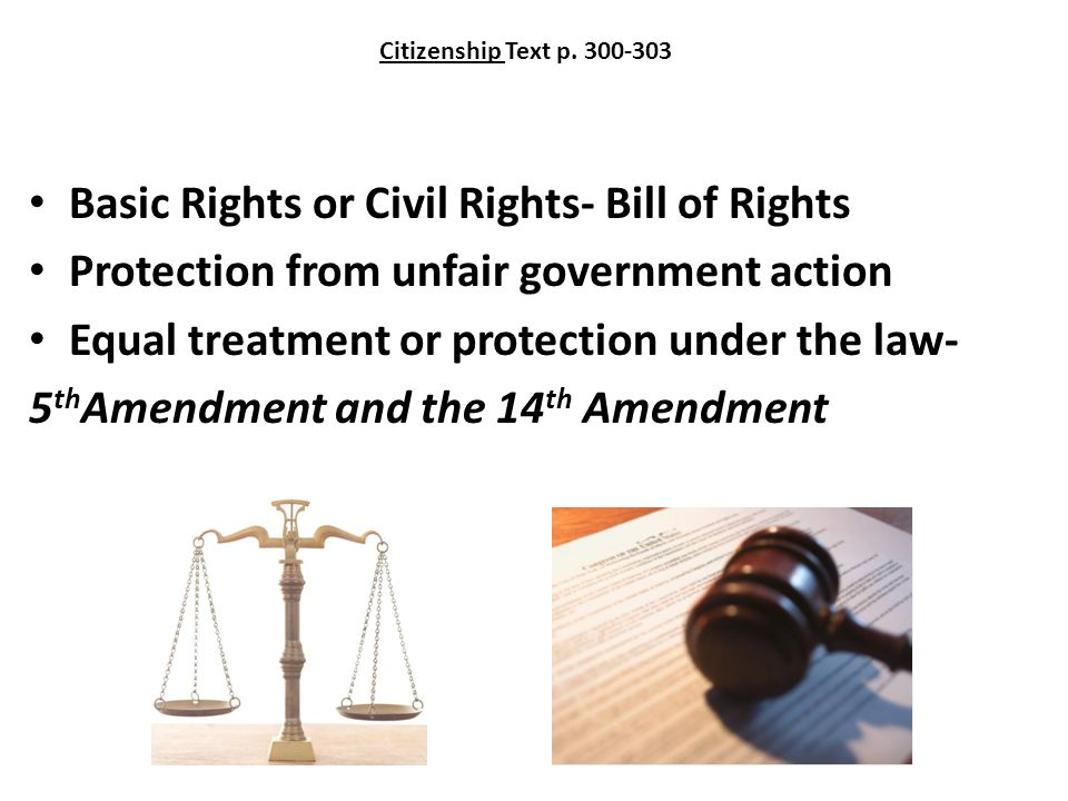 Citizenship Text p. 300-303 Basic Rights or Civil Rights- Bill of Rights Protection from unfair government action Equal treatment or protection under