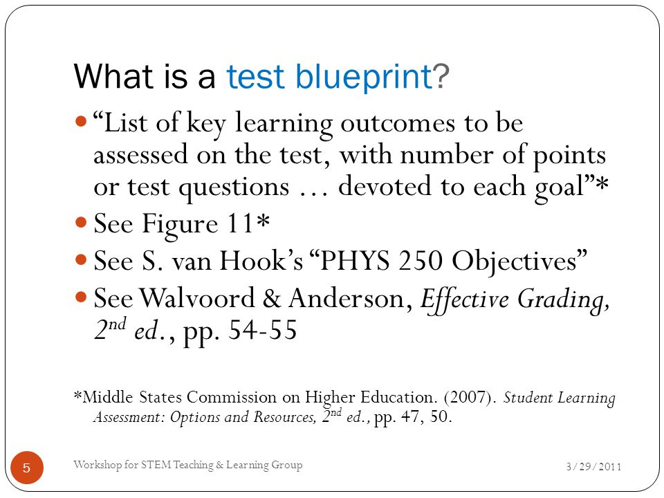 "What is a test blueprint? 3/29/2011 Workshop for STEM Teaching & Learning Group 5 ""List of key learning outcomes to be assessed on the test, with numb"