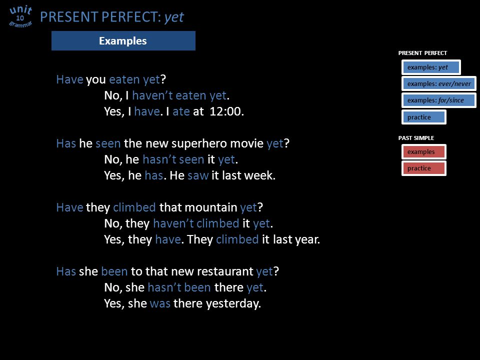 PRESENT PERFECT: yet Have you eaten yet. No, I haven't eaten yet.